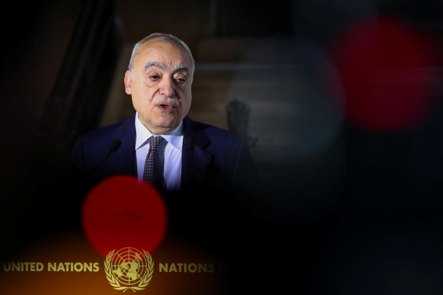 FILE PHOTO: U.N. Envoy for Libya, Ghassan Salame holds a news briefing ahead of U.N.-brokered military talks in Geneva, Switzerland, February 4, 2020. REUTERS/Denis Balibouse