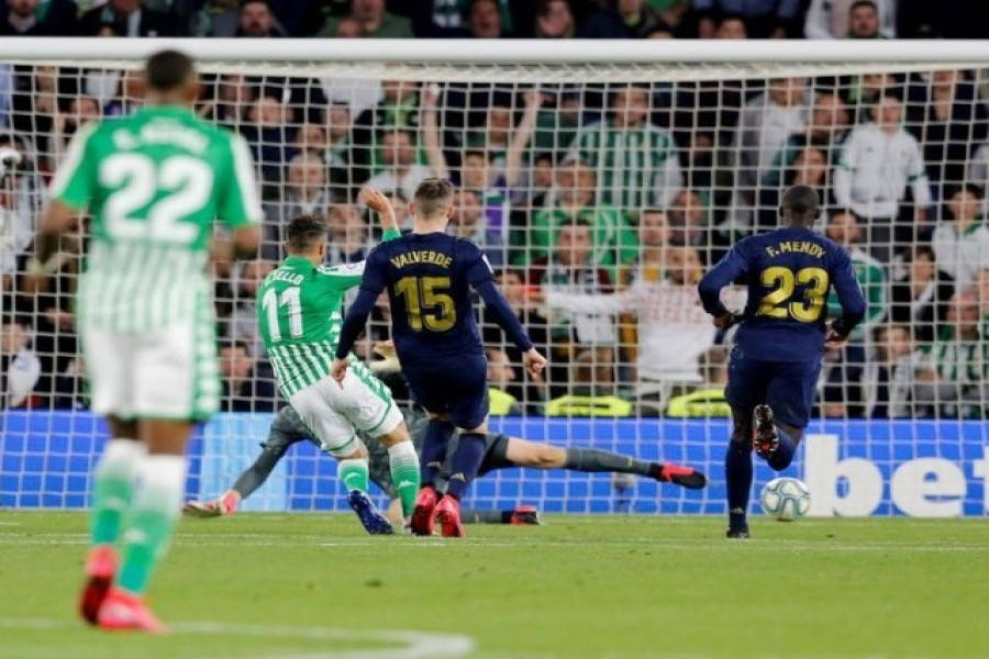 Real Betis' Cristian Tello scores their second goal against Real Madrid on Sunday — Reuters photo