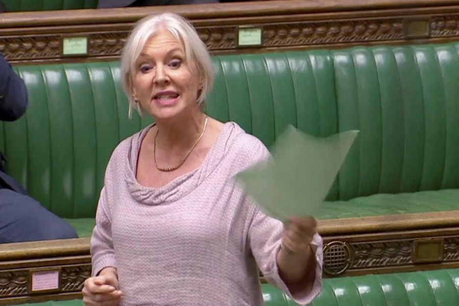 FILE PHOTO: British Conservative MP Nadine Dorries speaks in the Parliament during a debate on alternatives to Prime Minister Theresa May's Brexit Deal, in London, Britain April 3, 2019, in this screen grab taken from video. Reuters TV via REUTERS