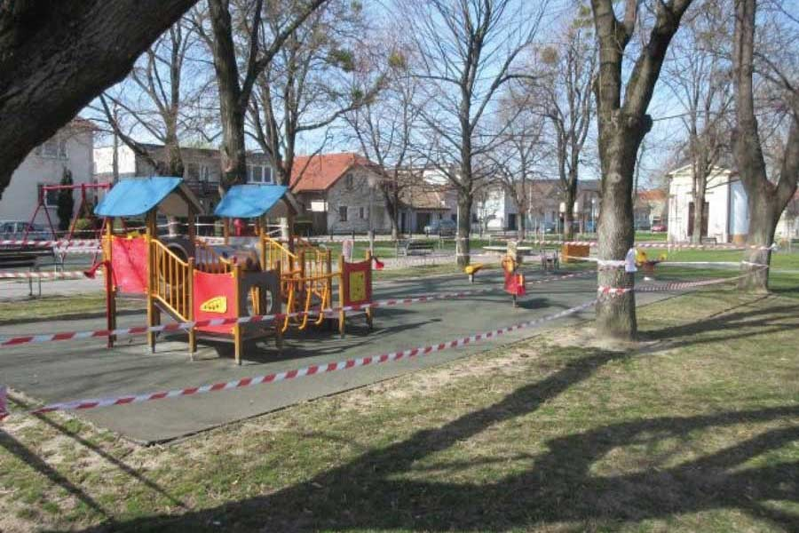 This playground just outside the Slovak capital, Bratislava, has been sealed off to stop people spreading the virus. Similar measures are in place in cities and towns across Europe, which is now the epicentre of the virus's spread.     —Credit: Ed Holt/IPS