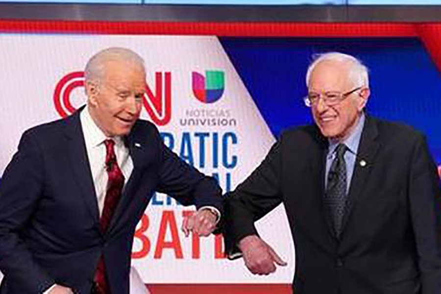 Democratic presidential candidates Senator Bernie (right) Sanders and former vice-president Joe Biden at the 11th Democratic candidates debate in Washington DC on March 16, 2020.           —Photo: Reuters