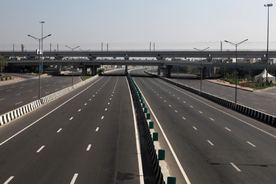 General view shows a deserted national highway during a 14-hour long curfew to limit the spreading of coronavirus disease (COVID-19) in the country, in New Delhi, India on March 22, 2020 — Reuters photo