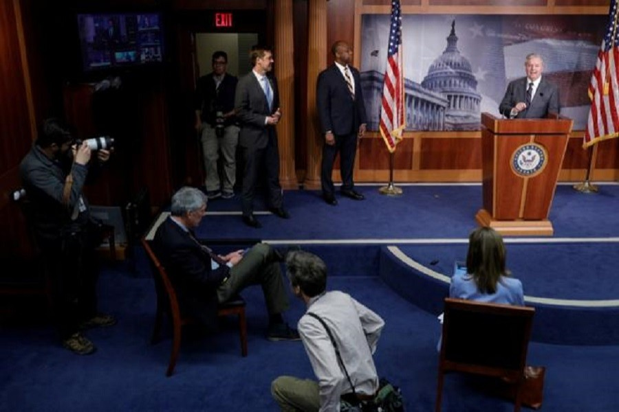 Senator Lindsey Graham (R-SC) delivers remarks during a news conference on the coronavirus relief bill, on Capitol Hill in Washington, US, March 25, 2020. — Reuters