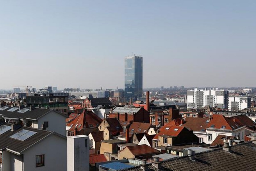 A general view shows the South Tower during the lockdown imposed by the Belgian government to slow down the coronavirus disease (COVID-19) outbreak, in Brussels, Belgium on March 27, 2020 — Reuters photo