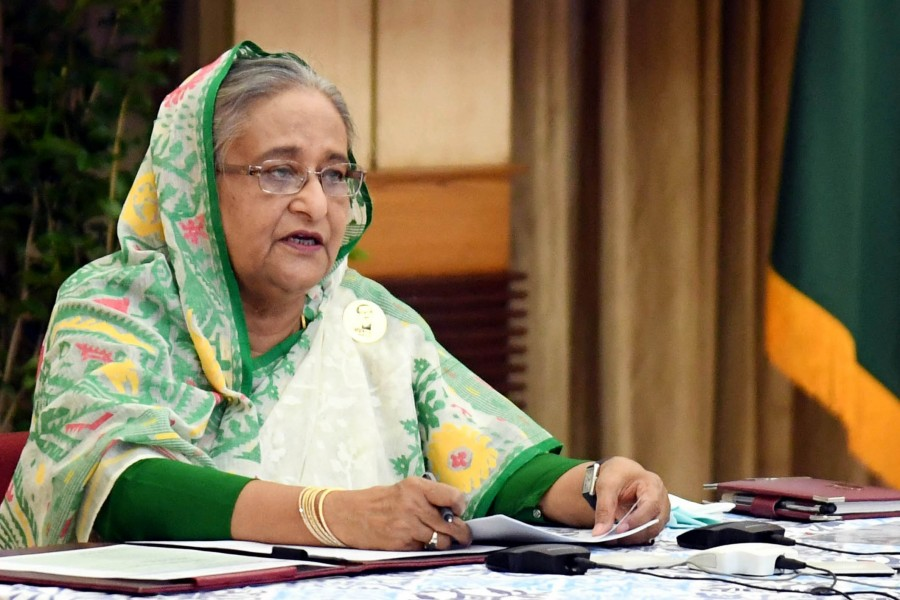 Prime Minister Sheikh Hasina speaking in videoconferencing - Focus Bangla photo