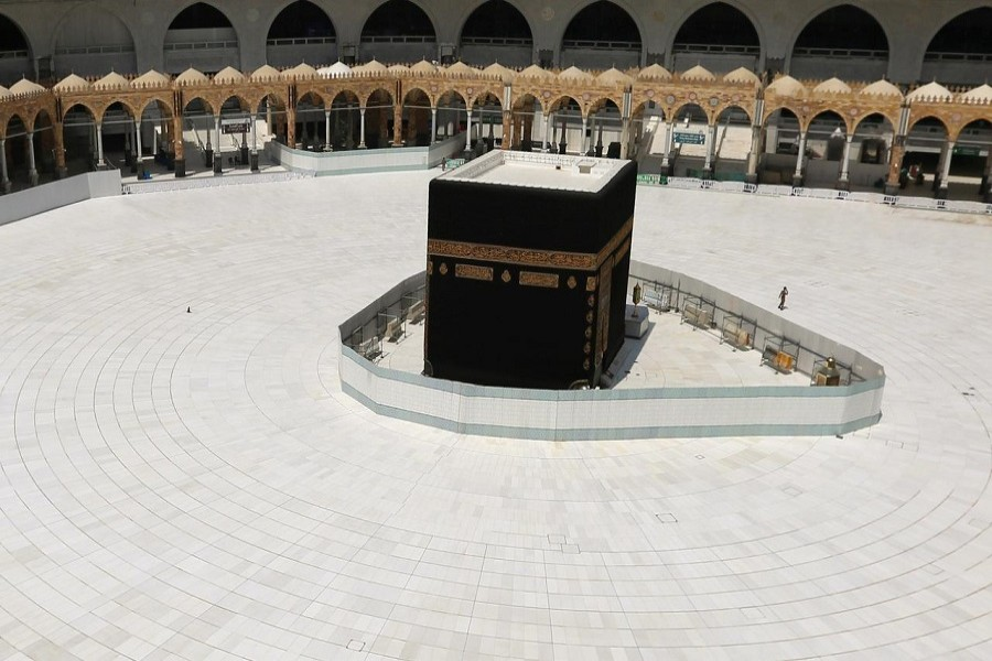 A general view of Kaaba at the Grand Mosque, which is almost empty of worshippers after Saudi authority suspended umrah (Islamic pilgrimage to Mecca) amid the fear of coronavirus outbreak, at the Muslim holy city of Mecca, Saudi Arabia, March 06, 2020. — Reuters