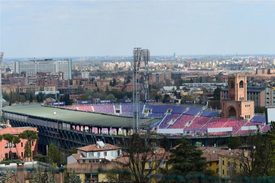 A stadium is seen empty in Bologna, Italy, on April 01, 2020. — Xinhua