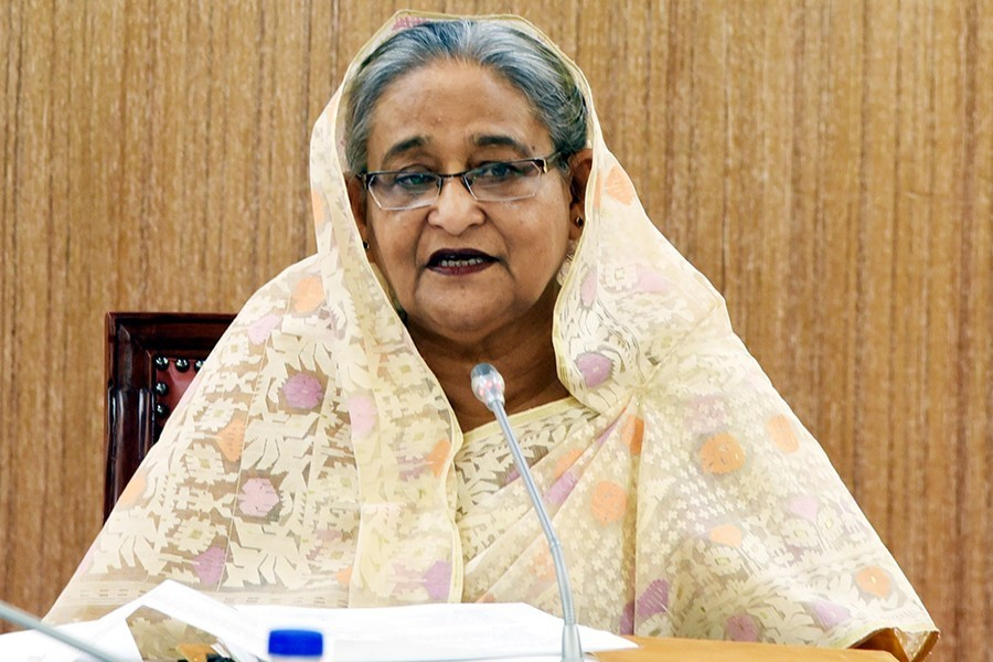 Prime Minister Sheikh Hasina is seen in this undated BSS photo