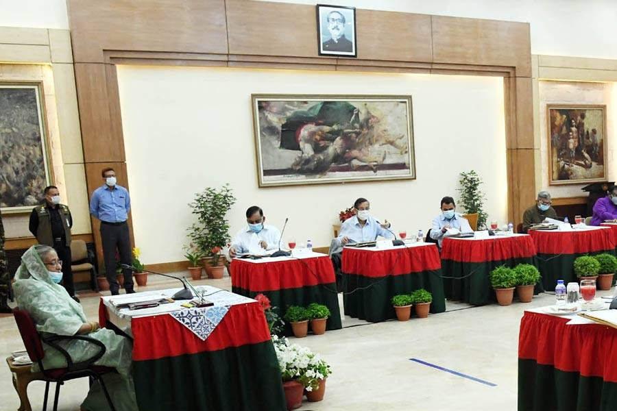 Prime Minister Sheikh Hasina presiding over the weekly cabinet meeting held at Ganabhaban in Dhaka on Monday morning. –PID Photo