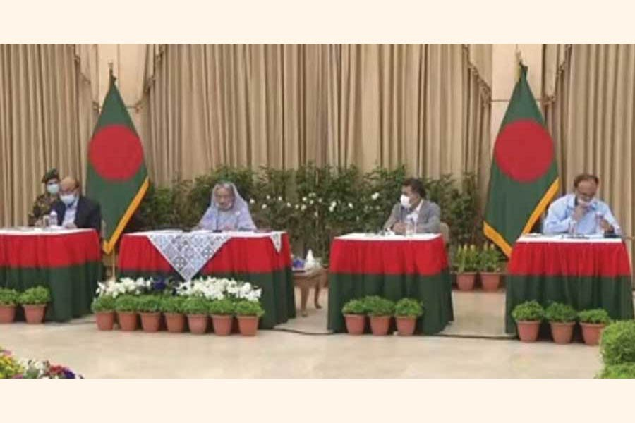 Prime Minister Sheikh Hasina announces a Tk 727.50-billion stimulus package to cushion the impact of the Covid-19 pandemic in a media briefing televised live from her official residence Ganabhaban on April 05, 2020.  —Photo: bdnews24.com
