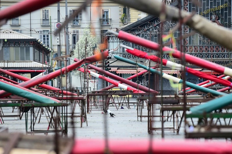 A closed market on an empty San Giovanni square is pictured on the sixth day of an unprecedented lockdown imposed to slow the outbreak of coronavirus, in Turin, Italy, March 15, 2020. – Reuters/Files