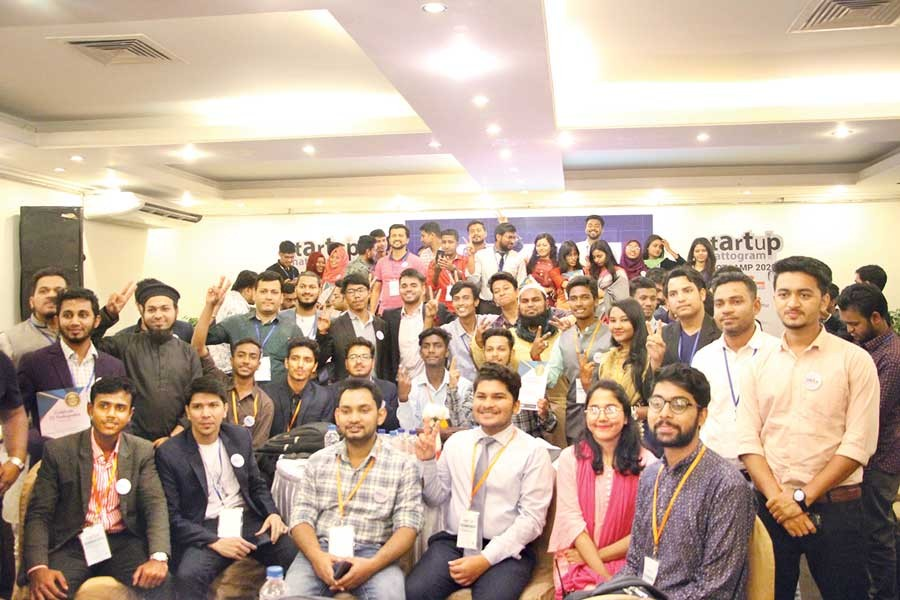 Startup Chattogram organisers and attendees of the first bootcamp pose for a photo