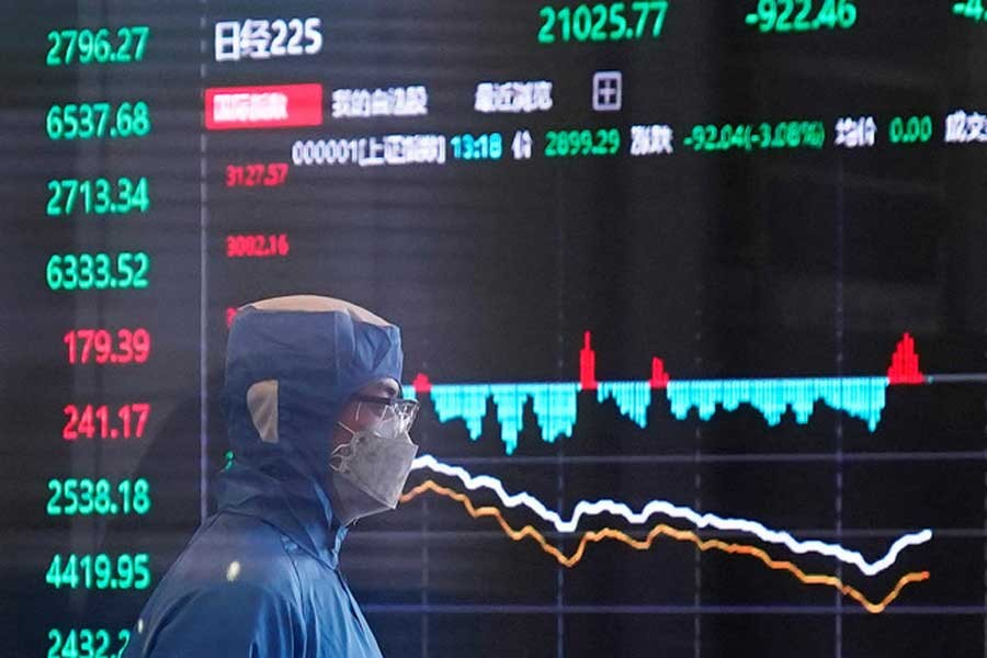 The value of Asian stocks decreasing dramatically as a consequence of the coronavrius virus outbreak –Reuters File Photo