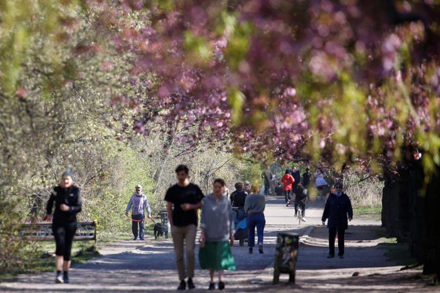 People walk under blooming cherry blossoms in a park in the Berlin district of Treptow on Easter Sunday amid the coronavirus outbreak, Germany on April 12, 2020 — Reuters photo