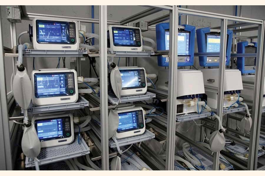 Ventilators of Hamilton Medical AG are seen at a plant in Domat/Ems, Switzerland on March 18, 2020.  —Photo: Reuters