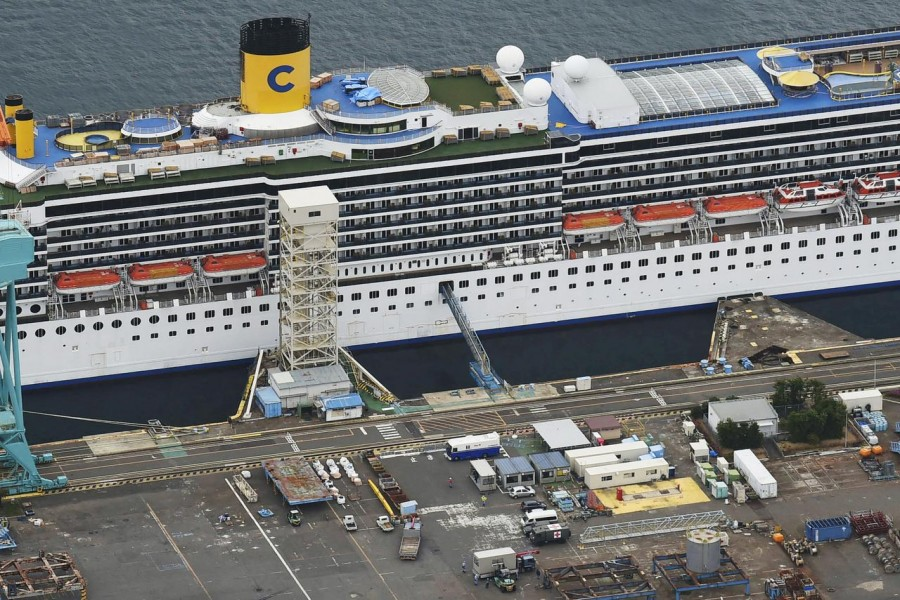 An aerial view shows Italian cruise ship Costa Atlantica, which has crew members confirmed with cases of the coronavirus disease (COVID-19) infection, in Nagasaki, southern Japan April 23, 2020. in this photo taken by Kyodo. Mandatory credit Kyodo/via REUTERS