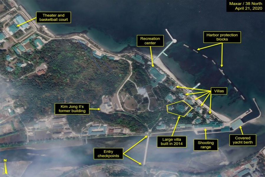 What is described by Washington-based North Korea monitoring project 38 North as a leadership train station servicing North Korean leader Kim Jong Un's Wonsan complex is seen in a satellite image with graphics taken over Wonsan, North Korea April 21, 2020. Satellite image ?2020 Maxar Technologies-38 North/Handout via REUTERS.