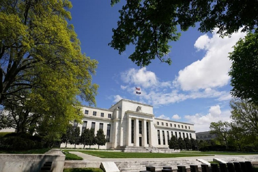 The Federal Reserve building is set against a blue sky, amid the coronavirus disease (COVID-19) outbreak, in Washington, US, May 01, 2020. — Reuters