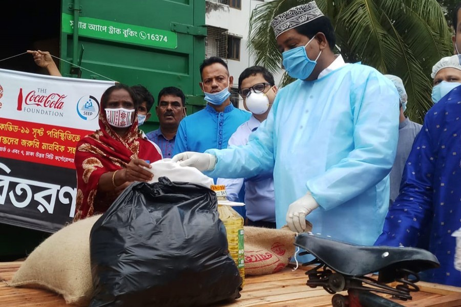 Elias Uddin Mollah, MP of Dhaka-16 constituency attended the ration distribution programme as chief guest