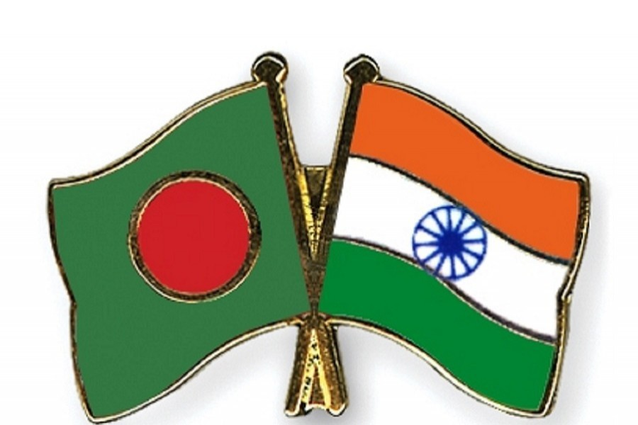Bangladesh and India flags are seen cross-pinned in the image, symbolising friendship between the two nations. — Collected Photo