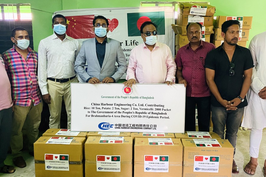 China Harbour donates foodstuffs for poor families in B'baria before Eid