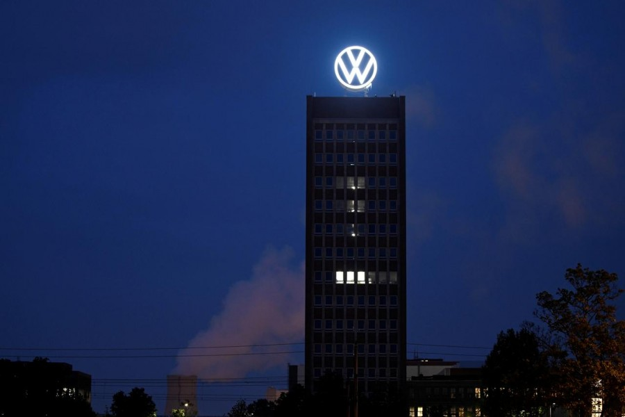 A new logo of German carmaker Volkswagen at the VW headquarters in Wolfsburg, Germany on September 9, 2019 — Reuters/Files