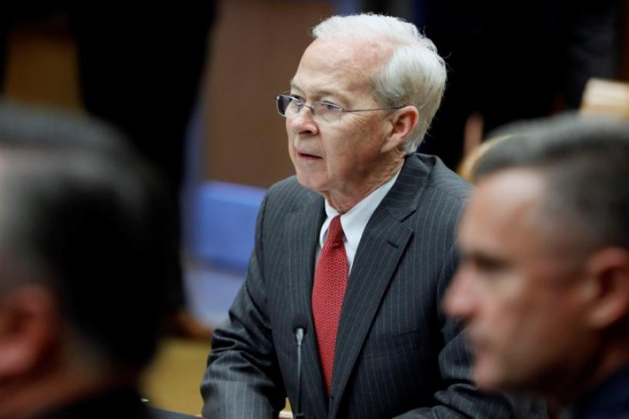 Acting Deputy Attorney General Dana J. Boente looks on while Attorney General Jeff Sessions speaks during a meeting with the Organized Crime Council and Organized Crime Drug Enforcement Task Force Executive Committee in Washington, D.C., U.S. April 18, 2017. REUTERS/Aaron P. Bernstein