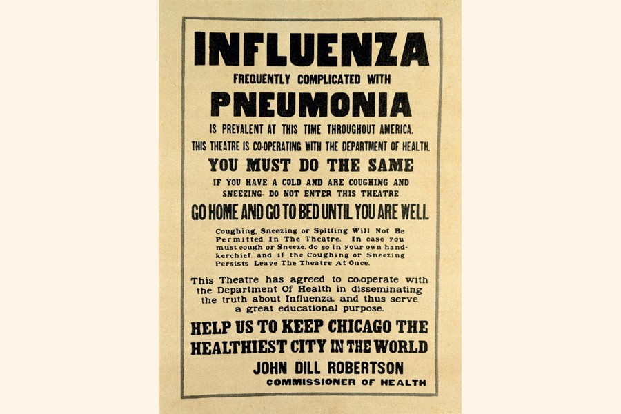 Chicago theatres displayed posters like this one to slow the spread of the Spanish Flu during the 1918 pandemic —NG Photo