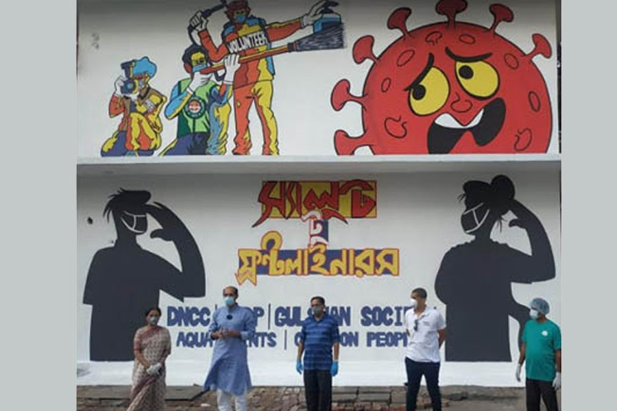 DNCC, UNDP unveil street art to thank COVID-19 frontliners