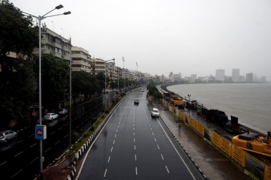 A deserted road is seen at Marine Drive before cyclone Nisarga makes its landfall, in Mumbai, India on June 3, 2020 — Reuters photo