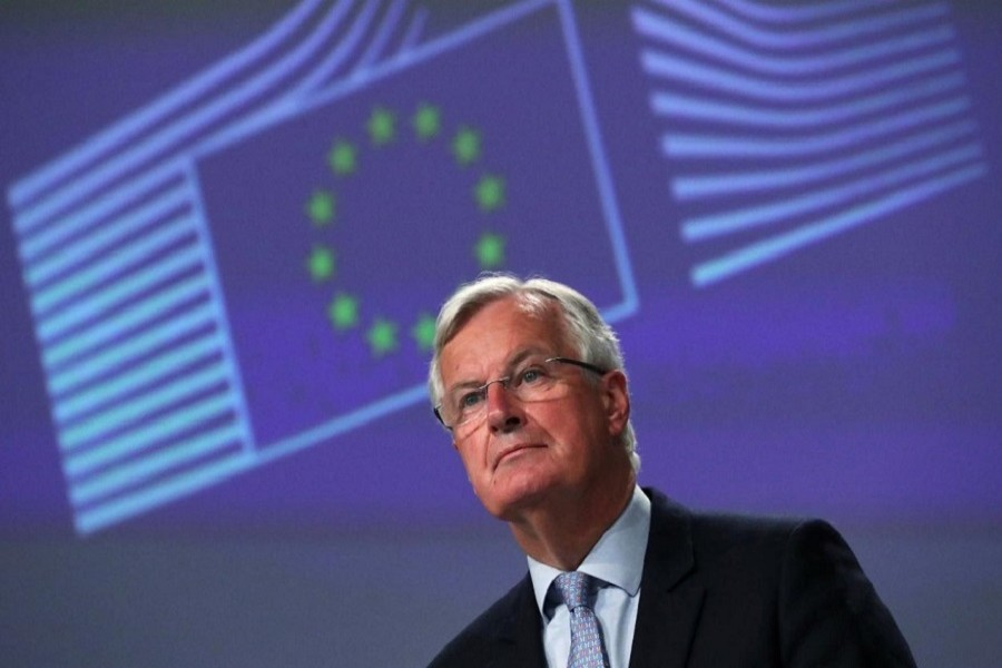 EU's Brexit negotiator Michel Barnier gives a news conference after Brexit negotiations, in Brussels, Belgium, June 05, 2020. — Reuters
