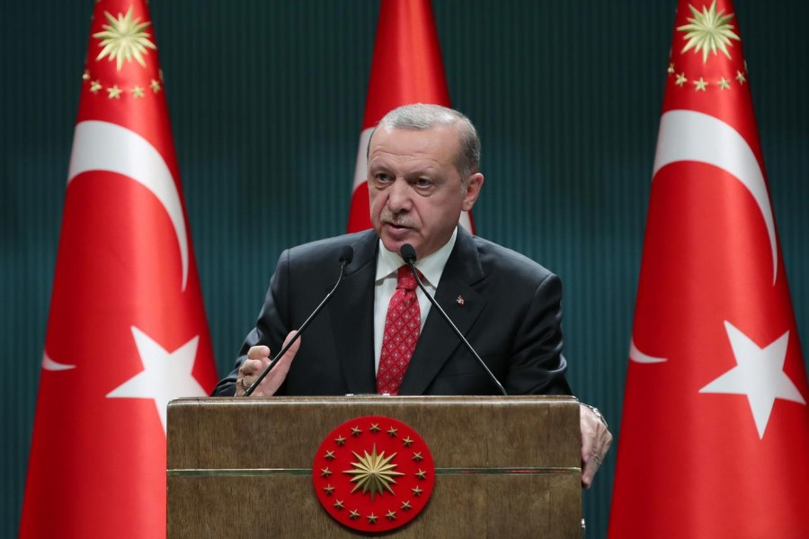 Turkish President Tayyip Erdogan speaks during a news conference following a cabinet meeting in Ankara, Turkey on June 9, 2020 — Turkish Presidential Press Office/Handout via REUTERS
