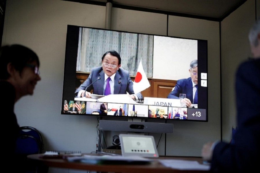 French Economy and Finance Minister Bruno Le Maire and Japan's Finance Minister Taro Aso attend G7 Finance Ministers meeting by videoconference at the Bercy Finance Ministry in Paris, France, April 14, 2020. — Reuters/Files