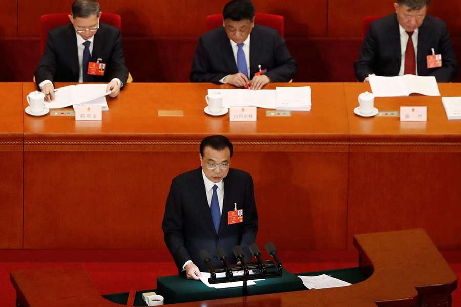 Chinese Premier Li Keqiang delivering a speech at the opening session of China's National People's Congress (NPC) at the Great Hall of the People in Beijing on May 22 this year -Reuters Photo