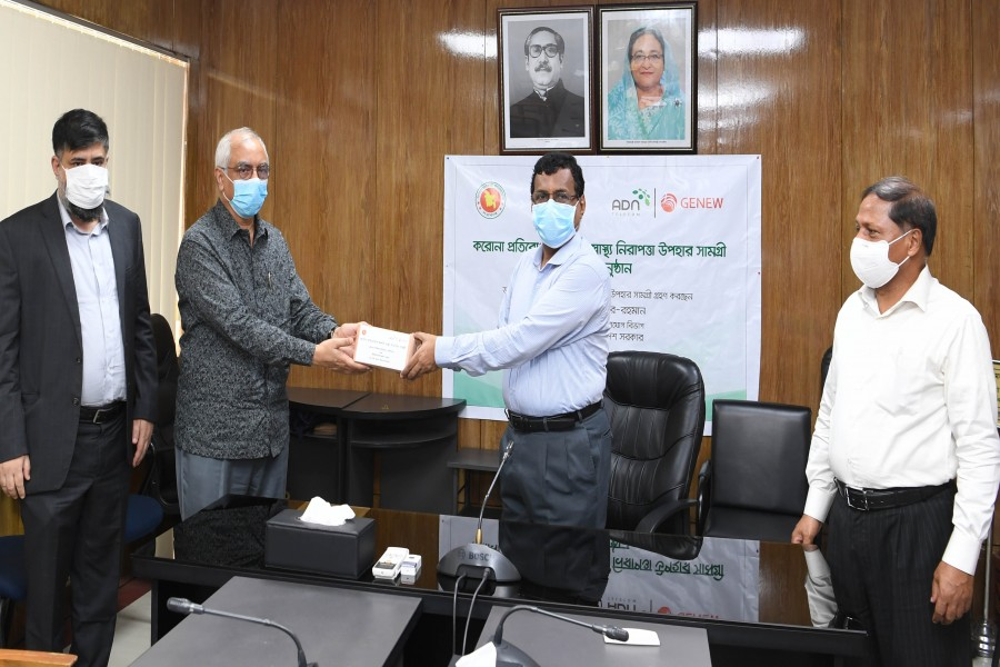 Mr. Zahir Ahmed, Vice Chairman of ADN Group, handed over  12,000 face masks to protect the health of the officers and employees of various agencies under the Department of Posts and Telecommunications. Mr. Md. Noor-ur-Rahman, Secretary, Department of Posts and Telecommunications received the masks.