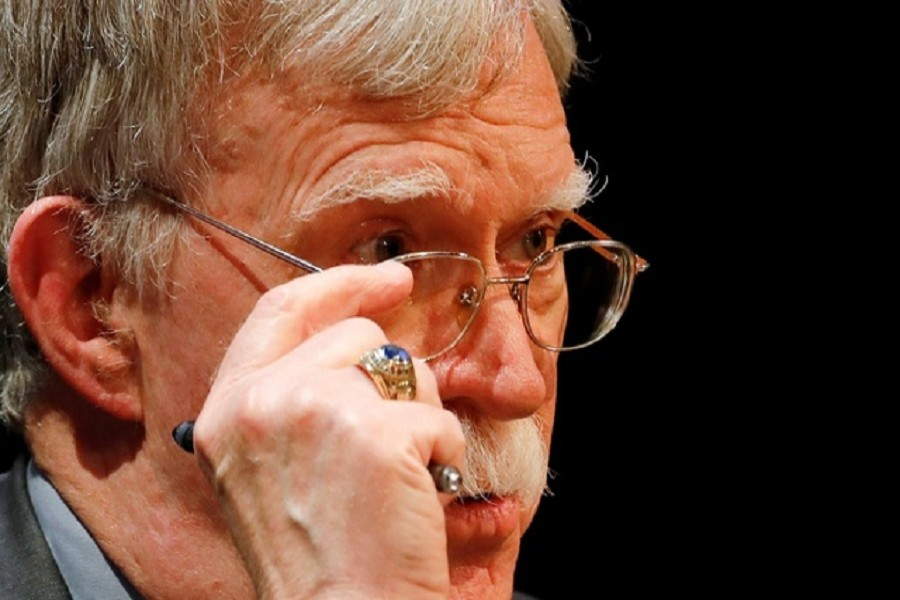 Former US national security advisor John Bolton adjusts his glasses during his lecture at Duke University in Durham, North Carolina, US, February 17, 2020 — Reuters/Files