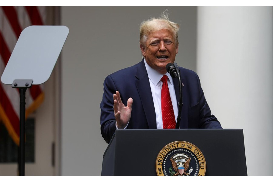 FILE PHOTO: U.S. President Donald Trump speaks prior to signing an executive order on police reform at a ceremony in the Rose Garden at the White House in Washington, US, June 16, 2020. REUTERS/Leah Millis
