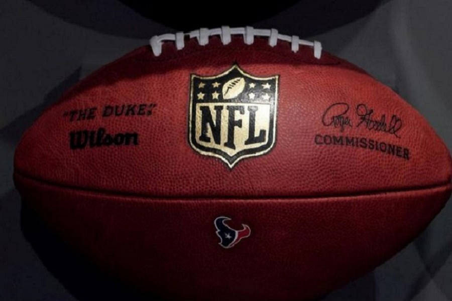 The NFL logo is pictured on a football at an event in the Manhattan borough of New York City, New York, US, November 30, 2017 —Reuters/Files
