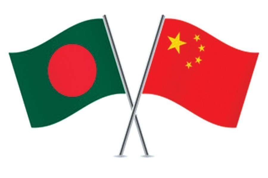 Flags of Bangladesh and China are seen cross-pinned, symbolising friendship between the two nations — Collected Photo