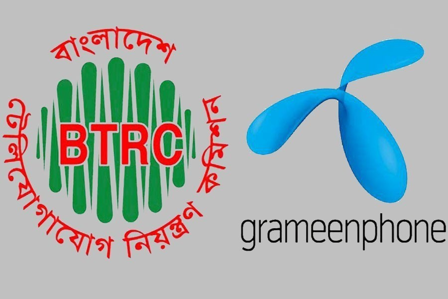 The logos of Bangladesh Telecom Regulatory Commission and Grameenphone are seen in this photo collage