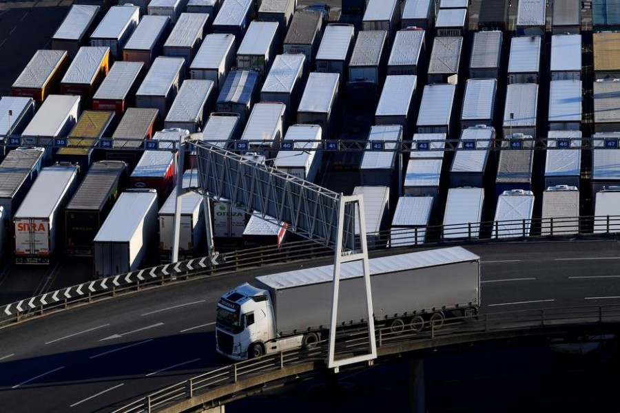 A lorry is driven past dozens of others parked after traveling by ferry between Britain and France at the Port of Dover, Britain on February 14, 2019 — Reuters/Files