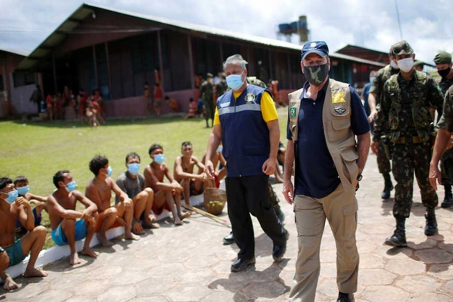 Brazil's Defence Minister Fernando Azevedo e Silva is seen during a visit, amid the spread of the coronavirus disease (COVID-19), at the 4th Surucucu Special Frontier Platoon of the Brazilian army in the municipality of Alto Alegre, state of Roraima, Brazil July 01, 2020. REUTERS