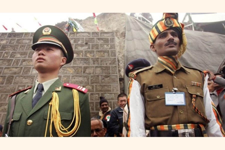 Chinese and Indian security officials at a Himalayan border area—Photo Collected
