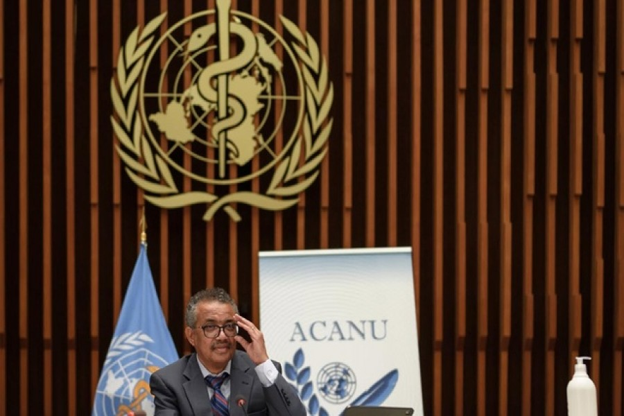 World Health Organization (WHO) Director-General Tedros Adhanom Ghebreyesus attends a news conference organised by Geneva Association of United Nations Correspondents (ACANU) amid the Covid-19 outbreak, caused by the novel coronavirus, at the WHO headquarters in Geneva, Switzerland July 03, 2020 — Fabrice Coffrini/Pool via Reuters