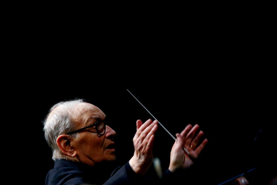 Italian composer Ennio Morricone conducts a concert in Berlin, Germany on January 21, 2019 — Reuters/Files