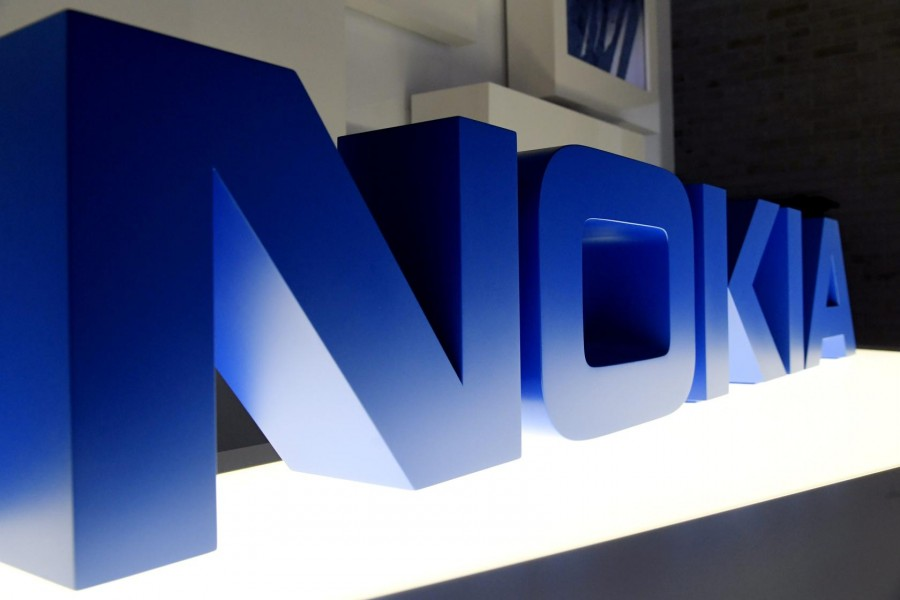 The logo of Nokia is seen before the company's news conference in Espoo, Finland March 2, 2020. Lehtikuva/Markku Ulander via REUTERS