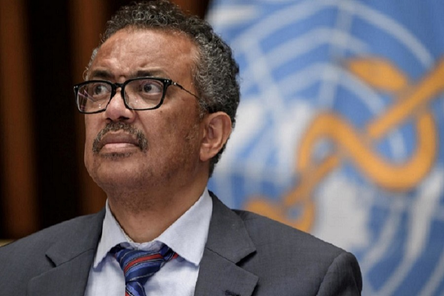 World Health Organization (WHO) Director-General Tedros Adhanom Ghebreyesus attends a news conference organised by Geneva Association of United Nations Correspondents (ACANU) amid the Covid-19 outbreak, caused by the novel coronavirus, at the WHO headquarters in Geneva Switzerland July 03, 2020 — Fabrice Coffrini/Pool via Reuters/File Photo