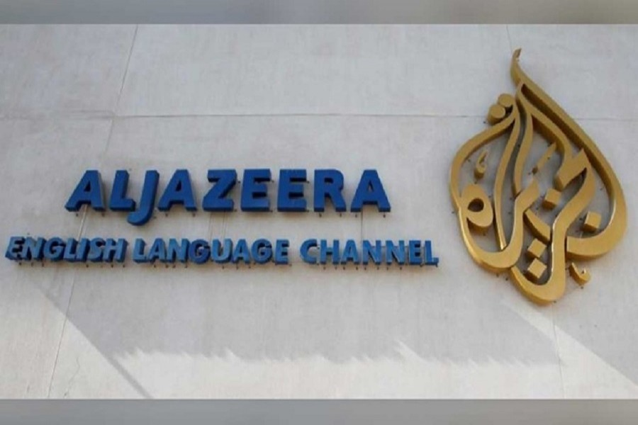 The logo of Qatar-based Al Jazeera satellite news channel is seen in Doha, February 07, 2011 — Reuters/Files