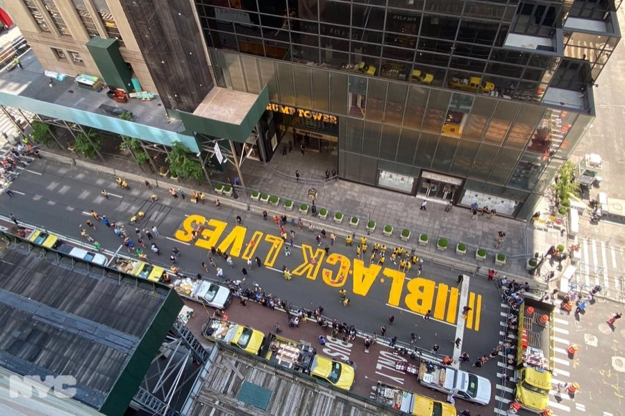 NYC paints 'Black Lives Matter' mural in front of Trump Tower