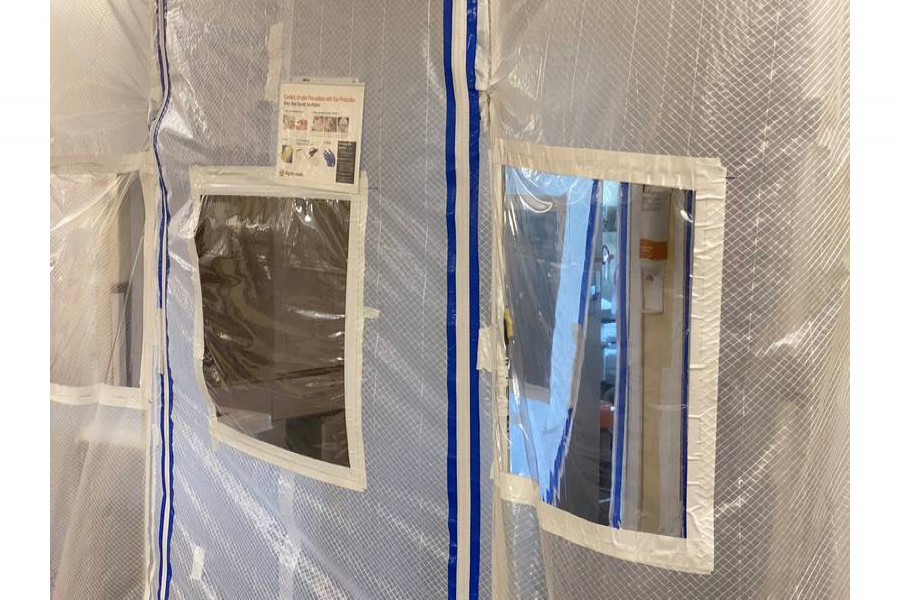 A protective screen is seen at the entrance to a negative pressure ICU hospital room, where COVID-19 patients are treated, at St John's Regional Medical Center in Oxnard, California, U.S., July 9, 2020. Picture taken July 9, 2020. REUTERS/Sandra Stojanovic